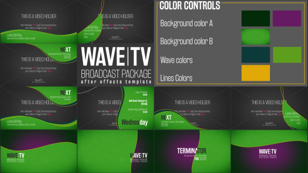 Wave Broadcast Package Titles After Effects Templates