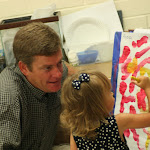 LePort School Parent/Child Montessori - daddy with young girl painting