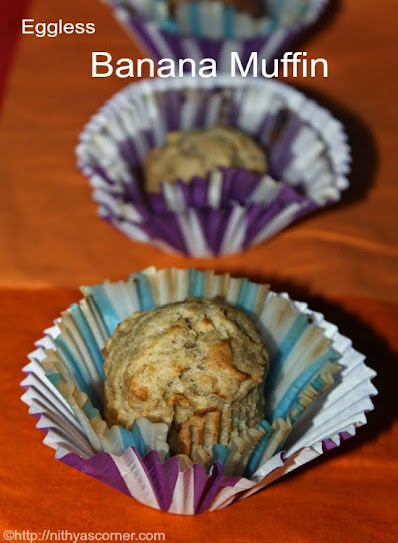 Eggless Banana Muffins Recipe | Whole Wheat Banana Muffins Recipe