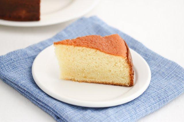 photo of a slice of sponge cake