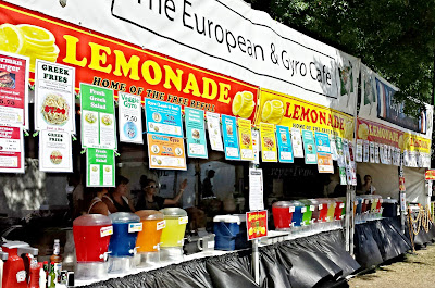 Rainbow of Lemonade... home of the free refill. At Bite of Oregon