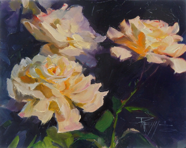 In plein air rose light 2 flower oil painting roses for How to oil paint flowers