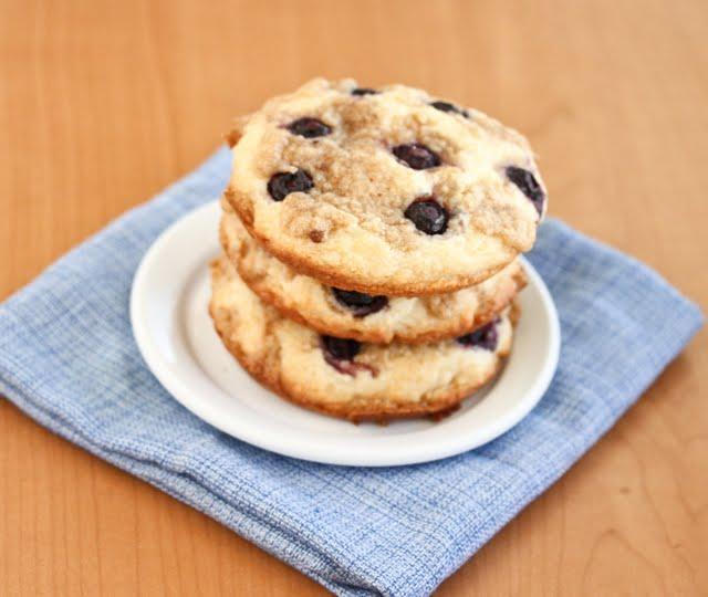 overhead photo of Blueberry Coffee Cake Cookies