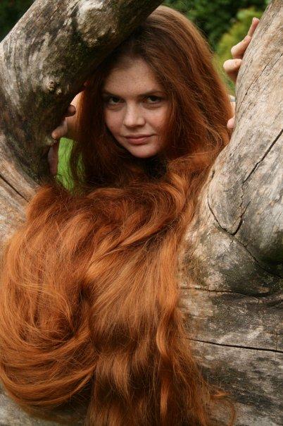long hair girl red hair model