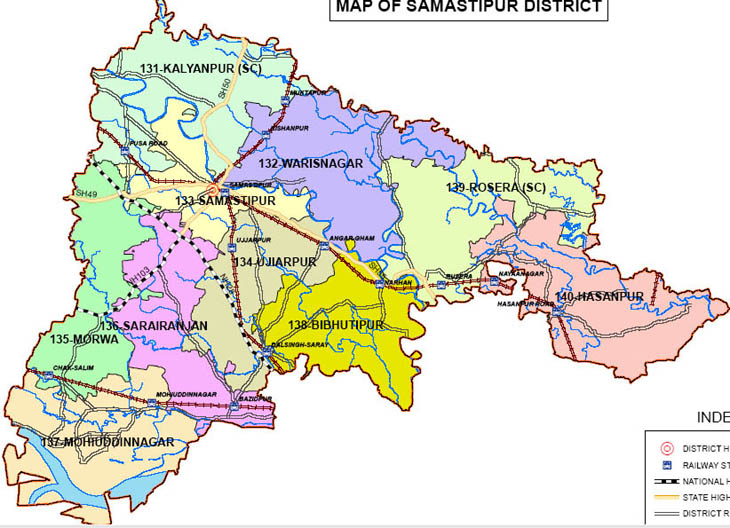samastipur district bihar assembly elections 2015 constituency map image