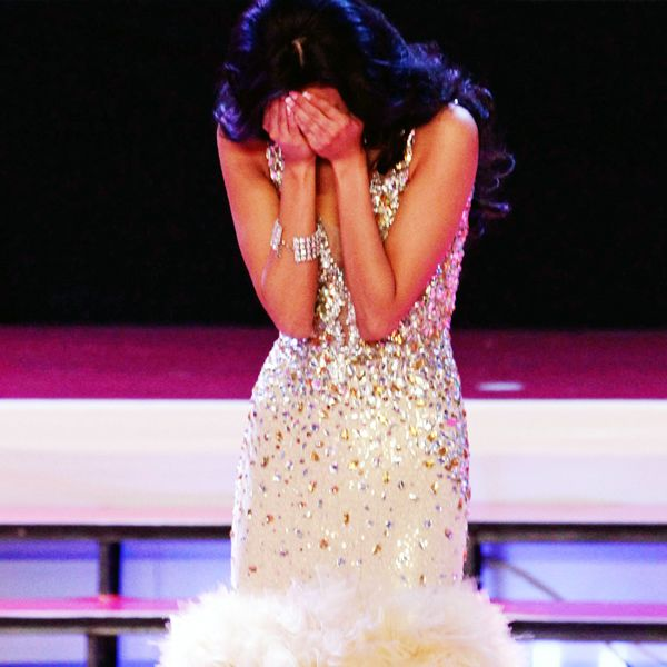 Carolina Brid gets emotional after being named the winner of Miss Panama 2013 beauty pageant, held in Panama City, on April 30, 2013.