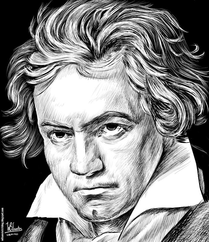 Ink drawing of Ludwig van Beethoven, using Krita 2.4.