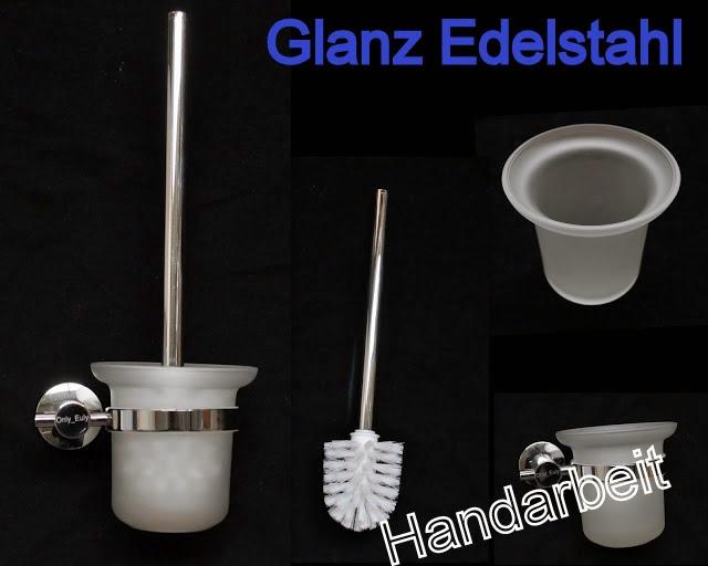 glanz edelstahl wc b rste toilettenb rste glas bad b rste m halter wandhalterung ebay. Black Bedroom Furniture Sets. Home Design Ideas