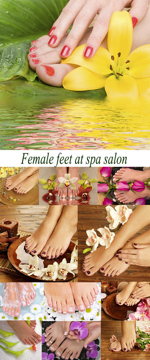 Stock Photo: Female feet at spa salon 2