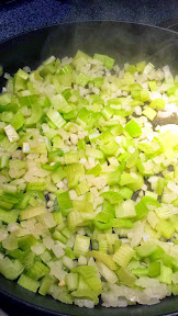 Breakfast Casserole Recipe - sweating the cup of celery and onion