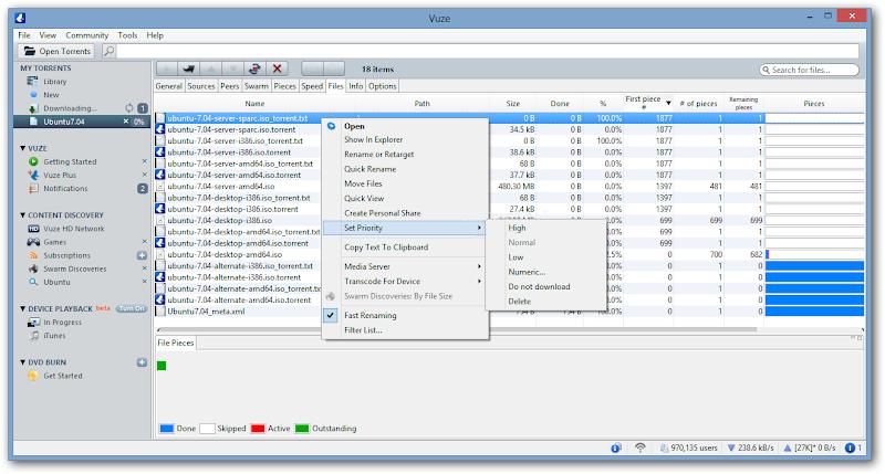Screenshot of Vuze v.5.0.0.0 Bittorrent Client File Sharing & Transfer PC Software Free Download at Alldownloads4u.Com
