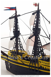 Quilled galleon detail - masts