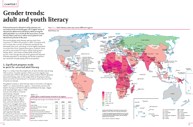 World map with adult literacy rates