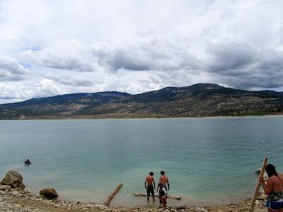 The beginnings of the boys' raft at Joe's Valley Reservoir