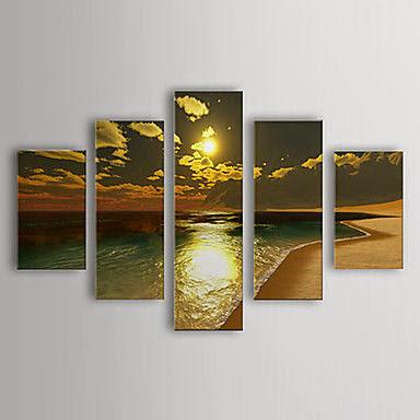 5 piece Handpainted Wall Art Beauty Sunset Beach Home D