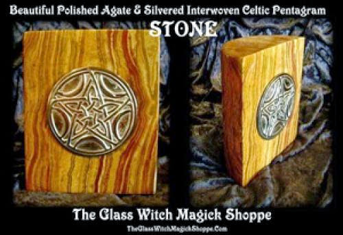 Beautiful Polished Agate And Silvered Interwoven Celtic Pentagram Stone Ca 40 00