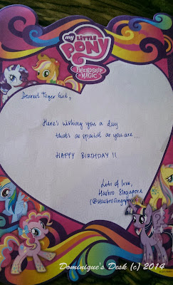 The birthday note from @HasbroSingapore