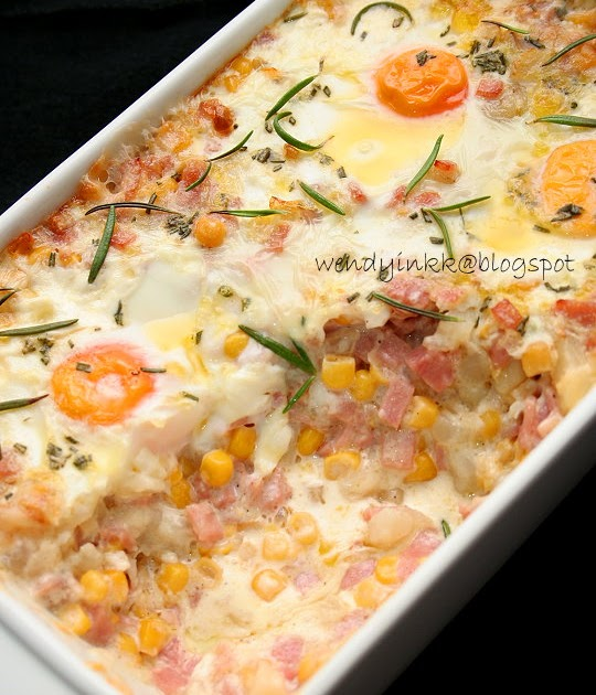 ... for 2.... or more: Eggs baked in Ham and Potato Hash - Potato Week # 1
