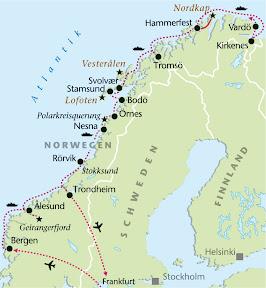 Hurtigrute, Rundreise, Heideker Reisen, Bergen, Alesund, Molde, Trondheim, Nidaros-Dom, Polarkreis, Bodo, Tromsö, Nordkap, Hammerfest, Vesteralen, Lofoten, Svolvaer, Harstad, Nordkap, Honningsvag, Hammerfest, Kirkenes, Geirangerfjord