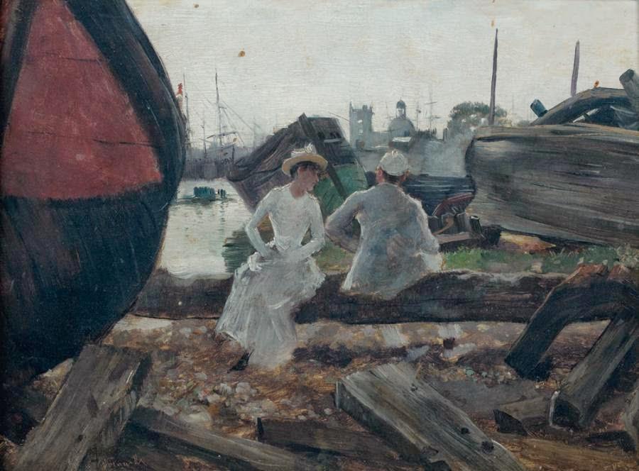 Norbert Goeneutte - Scène galante dans un port