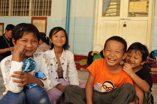 Smiling Burmese Kids at Sule Pagoda, Yangon, Burma