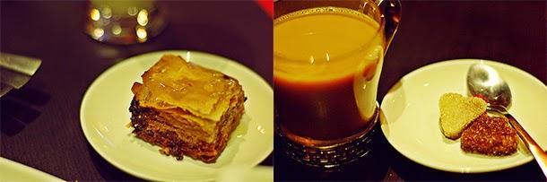 Indian food - Baklava and tea