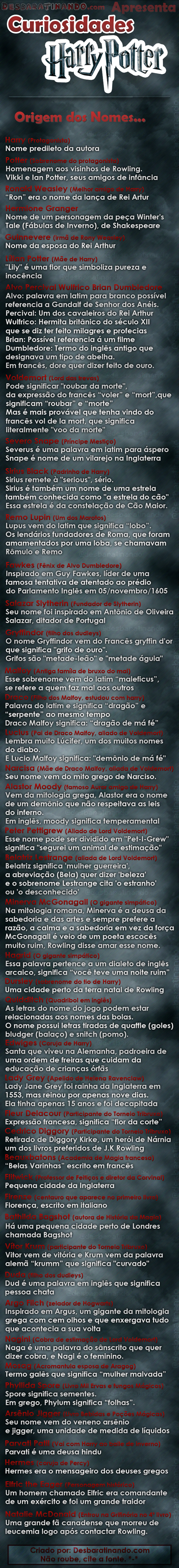 significado dos nomes harry potter albus alvo dumbledore hermione eon rony gina Malfoy draco sirius black lucius narcisa hagrid nagini lord voldemort belatrix Salazar Slytherin Remo Lupin Edwiges Fawkes Granger Fleur Delacour Snape