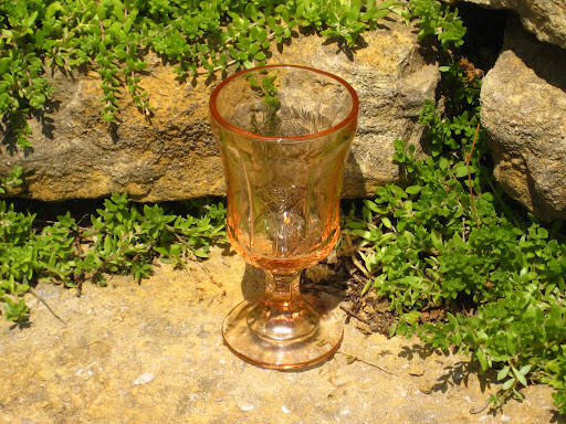 Pink depression glass goblets available for rent from www.momentarilyyours.com, $2.