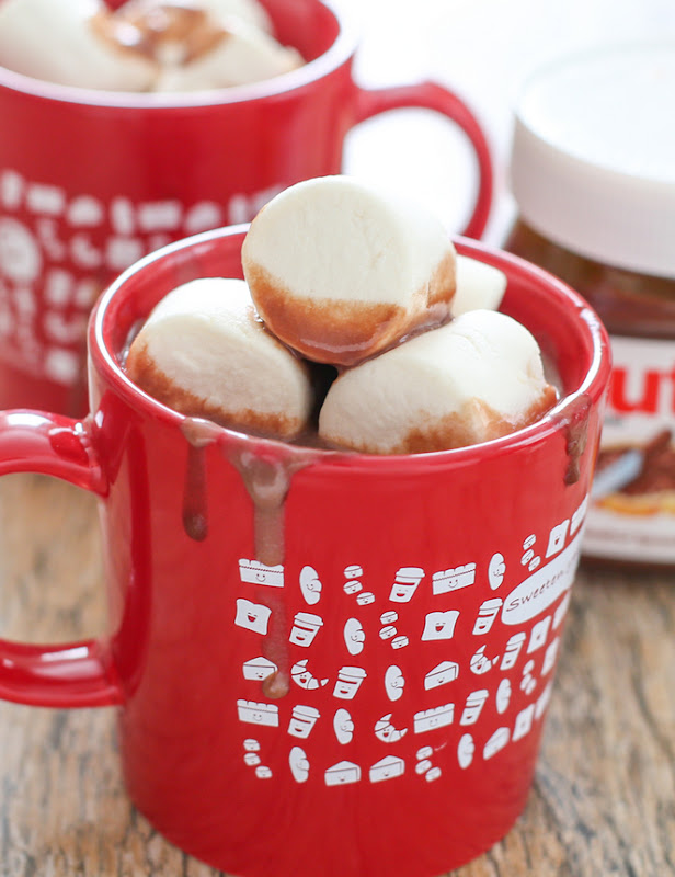 close-up photo of a mug of nutella hot chocolate with marshmallows