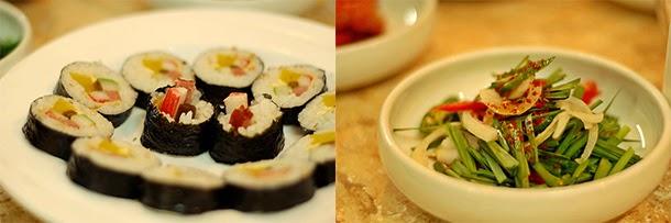 Korean food - Kimbap and Korean appetizer