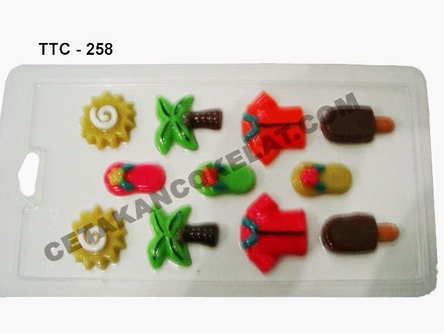 Cetakan Coklat TTC258 Sandal sendal Baju Es krim ice cream Matahari Pohon Kelapa