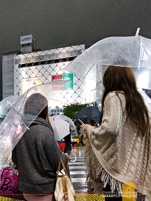 Transparent Umbrellas at Tokyo's Shibuya Crossing