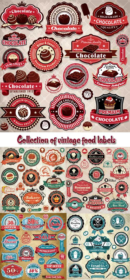 Stock: Collection of vintage food labels