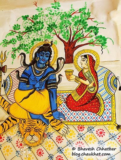 Wall painting of Shiv-Parvati