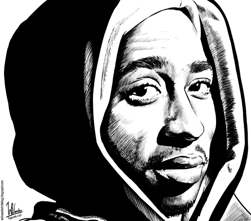 Ink drawing of 2Pac, using Krita 2.5.