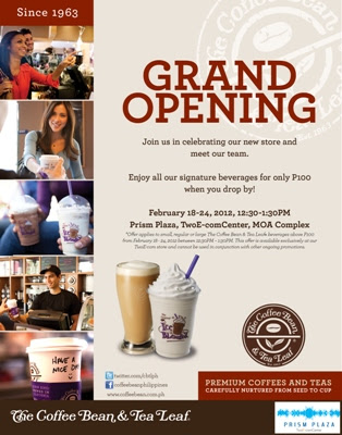 The coffee bean and tea leaf opening