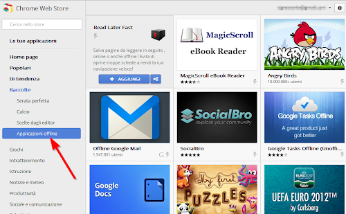 Google Webstore - raccolta applicazioni offline