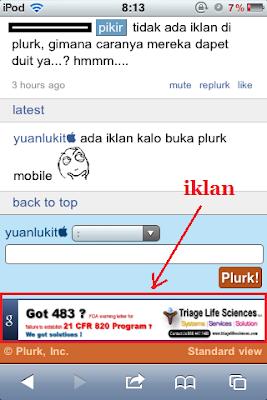iklan pada Plurk Mobile