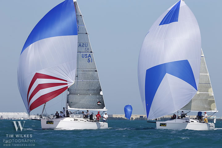 J/109s match-racing while sailing off Key West