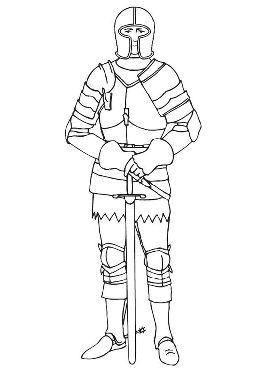 Knight of the Middle Ages coloring page