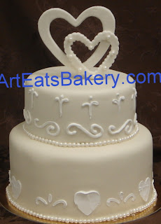 Custom Simple Two Tier Fondant Round Wedding Cake With Sugar Pearls Hearts And Heart Topper