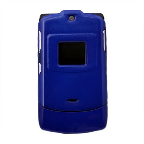 Motorola Razr V3 Crystal Plastic Clip on Cover (Dark Blue)