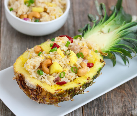 Thai Pineapple Fried Rice garnishes with cashews and scallions