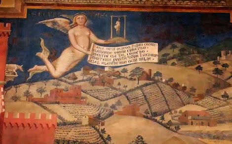 Ausschnitt eines Freskos im Rathaus von Siena von Ambrogio Lorenzetti: »Die Wirkungen der guten Regierung«, aus dem Jahre 1332. Erkennbar heißt der Engel SECURITAS. Er trägt einen kleinen neckischen Galgen sowie ein Spruchband. Der Text darauf lautet übersetzt: »Ohne Furcht gehe jeder freie Mensch und bestelle die Saat, während die Gemeinde dieses Gebiet in Herrschaft hat, die jegliche Gewalt fernhält.«