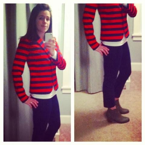 red blue striped blazer