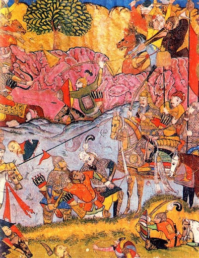 A dynamic miniature showing the fierce battle between Timu and Tokhtamysh's armies. From An Illustrated History of Kazakhstan: Asia's Heartland in Context