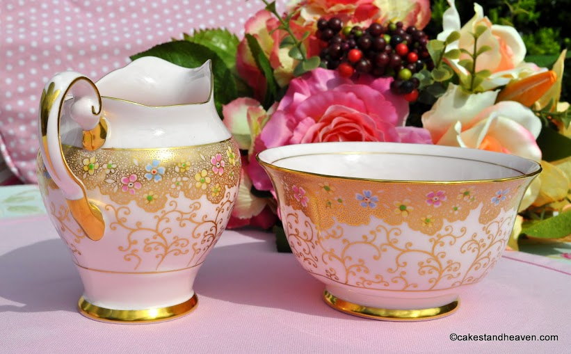 Tuscan pink fine china cream jug and bowl decorated with gold