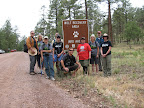 The Paseo del Lobo hiking crew at the Starting Point on July 8, 2012 (Photo by R. Coyote)