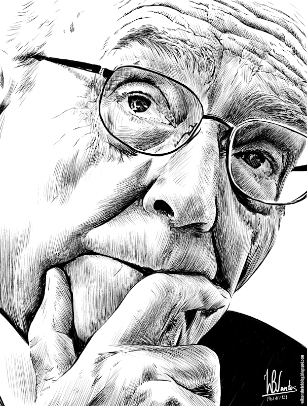 Ink drawing of José Saramago, using Krita 2.4.
