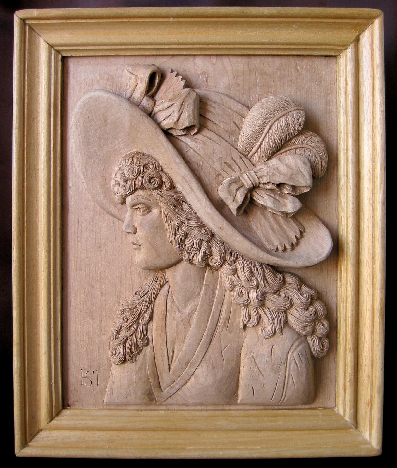 Dama con sombrero : Talla en madera. Wood carving. Esculturas